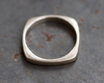 Square Ring Band - Sterling Silver Simple Geometric Ring - Size 9