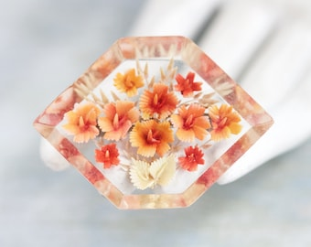 Orange Flowers Lapel Pin - Antique 1950's Reverse Carved Lucite Brooch - Encased beauty