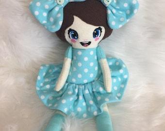 "11"" Plush Rag Doll Toy Blue Polka Dots Ready to Ship"