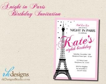 Night in Paris Birthday Invitation - DIY / Digital Invitation - Kid's Birthday, French, Eiffel Tower, Pink and Black, Girl's Birthday