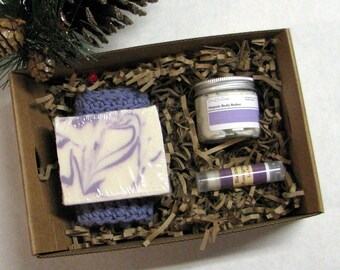 Womens Gift Set with Shea Butter Soap, Body Butter, Lip Balm and Handmade Washcloth, Gift boxed,