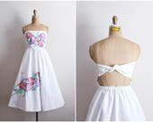 50s Hand painted Dress / 1950s White floral Dress / Size XS/S