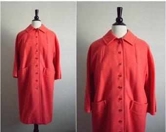 S a L E - 60s Sweet Orange Mod Swing Coat. Mad Men Outerwear. Size M/L