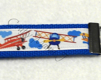 Airplane Key Fob made with Print Ribbon and Cotton Webbing Keychain Key chain Wristlet. Slides over wrist to carry keys. Readyto ship. Pilot