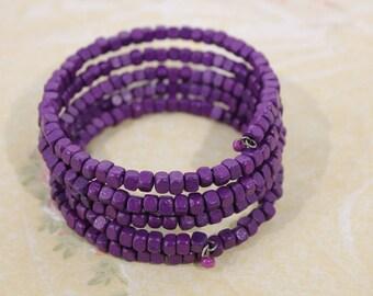 Bright Purple Wood Bead Wrap Around Bracelet