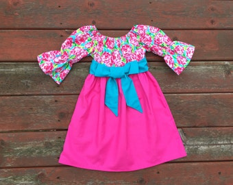 Easter Dress Girls Spring Aqua Hot Pink Roses Dresses with sash 6 12 18 24 2T 3T 4T 5/6 7/8 9/10 Sister Sibling Dresses Outfit