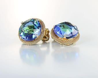 Blue Green Rhinestone Earrings, Gold Mesh Earrings Watermelon Schiaparelli style vintage jewelry