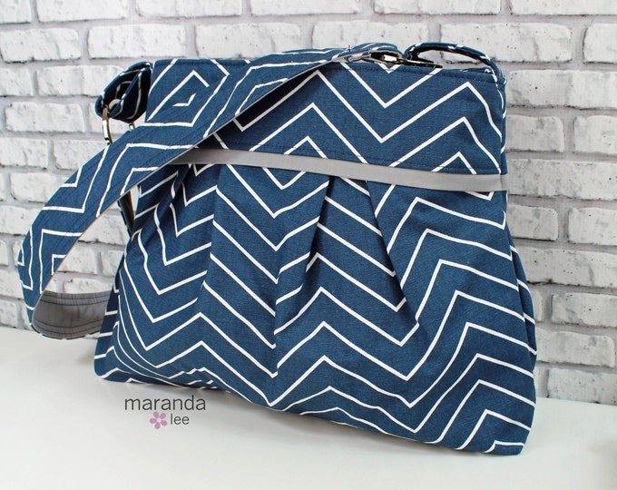 Stella Diaper Bag Medium Purse  - Navy Skinny Chevron with Grey Lining- 6 pockets Adjustable Strap - Attach to Stroller