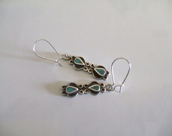 Vintage Sterling Silver and Turquoise Navajo Style Earrings Kidney Wire Navajo Style Earrings Delicate Dangle Navajo Earrings
