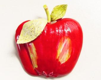 """Large Vintage Enameled Red Apple Brooch signed """"ART"""" 1970s"""