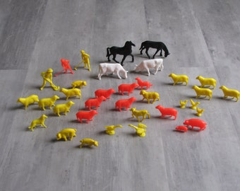 Vintage Plastic Farm Animals Toys - dogs, pigs, sheep, cows, horses, ducks, chickens
