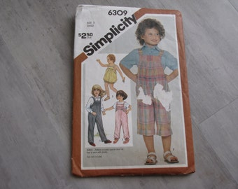 Vintage 1983 Baby Toddler Overalls and Romper Pattern - Simplicity 6309 - Size 2 - Toddler