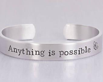 Personalized Bracelet - Custom Cuff Bracelet - Personalized Hand Stamped Jewelry - Inspirational Gift - Custom Gift - Valentine Gift