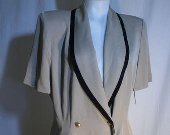 Vintage 80s Dress DANNY & NICOLE beige w navy trim Fitted straight double breasted front 1980s New