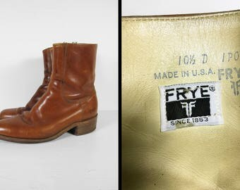 Vintage Frye Ankle Boots Brown Leather Beatle Boots Black Label Made in USA - Size 10 1/2 D