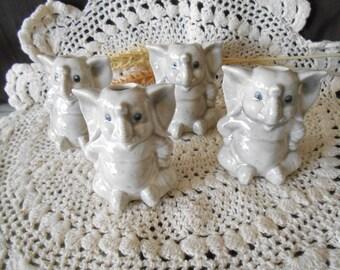 4 Elephant Shaped-Glazed Ceramic Macrame Beads-Handcrafted-Grey-Grey Flannel-A23