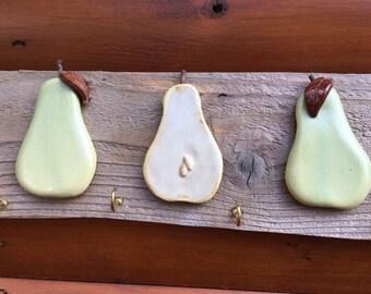 Ceramic Pear Key Holder,  Key Holder,  Key Rack, Wall Decoration, Wall Organizer, Key Hook, Key holder organizer, Rustic wall organizer,