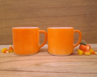 Vintage Fireking mugs - orange coffee mugs - pumpkin mugs - fall decor - vintage kitchen - Thanksgiving - coffee cups - cider mugs