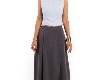 Grey Skirt, Split Skirt, Maxi skirt, Long Grey Skirt, women's skirt : Feel Good Collection No.5