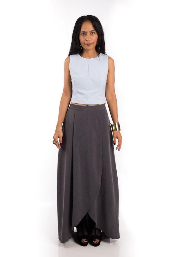 grey skirt split skirt maxi skirt grey skirt