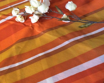 Vintage Sixties Oranges and Golds Striped Polyester Fabric Diagonal Stripes, Vintage Fabric, Sixties Fabric