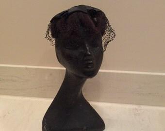 Vintage Brown  Mink Hat with Black Satin Bow Crown Otherwise Known as the Spider Hat, Vintage Hat, Vintage Mink, Vintage Fur