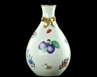 Vintage Richard Ginori Manifattura di Doccia 'Italian Fruits' Bud Vase with Gilded Dimensional Bow Accent