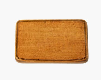 Antique 19th Century Handmade Maple Wood Rectangular Box with Carved Hinge and Silk Lining