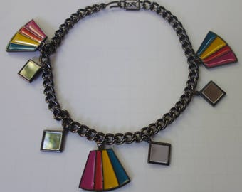 Vintage YSL Yves Saint Laurent Japanned Choker Necklace with Enamel and Mirror Tiles