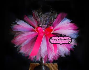 Hot Pink Black White and Pink Tutu - Pixie Cut - hot pink tutu, black and white tutu, pink black tutu, baby tutu, tutu 1st birthday tutu