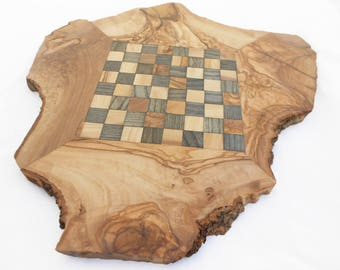 Chess Set Natural Edges Olive Wood Rustic Chess Board, Dad gift, Gift for Him