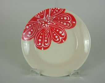 Thrown Pasta Plate - Porcelain - Red Flower