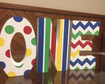 Primary Colors - Circus - Carnival - Freestanding Photo Prop - 1st Brithday - ONE Blocks - Hand Painted - Custom