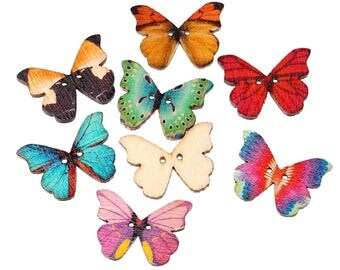 25x Buttons butterfly colorful Button Miniblings Wood Set DIY flower crafts sewing
