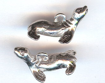 SEAL Charm. Sterling Silver Plated Pewter.  3D Sea Lion. Made in the USA.