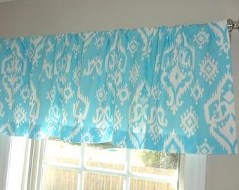 Curtain Valance Topper Window Treatment 52x15 Aqua Girly Blue Light Blue Ikat Raji Design Valance Home Decor