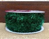 "SALE! Wired Ribbon Trim, 3/8"" wide, Spruce Green Metallic Fringe Tinsel - TWENTY FIVE Yard Roll - Offray Chazy Christmas"