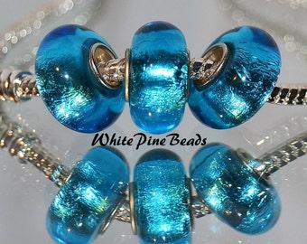 Turquoise Blue Aqua Blue Sky Blue Foil Handmade Murano Glass Bead Fits European Charm Bracelets