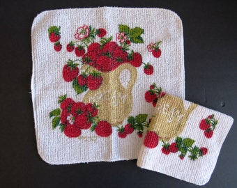 Vintage Terry Cloth Dishcloth Washcloth by Cannon - Set of 2 - Strawberries and Cream - Red Strawberries - 1970s Mod Kitchen - Collectible