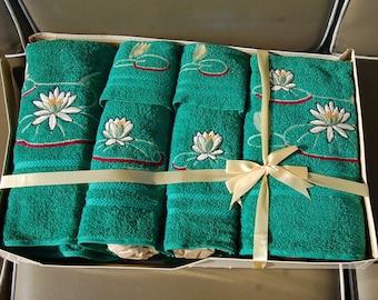 50's Martex Bath Towel 6 Piece Gift Set New Green Embroidered Vintage Retro Mod Cotton