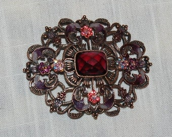 Vintage Jeweled Brooch Victorian Revival Large Statement Pin