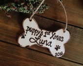 Puppy's First Christmas Personalized Ornament with Name and Year Dog Bone Pet Parents holiday Furbaby Fur-ever home