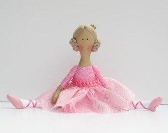 Ballerina doll fabric doll, pink princess doll, blonde doll cloth doll, softie doll, rag doll ballet dancer - baby shower gift nursery decor