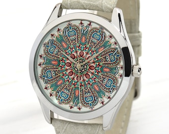Tribal Pattern Watch for Women   30th Birthday for Her   Gypsy Jewelry Watch   Ethnic Watch Jewelry   Unique Womens Watches   Free Shipping