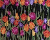 """1 Yard Cotton Fabric """"Garden Glitz"""" by M'Liss Rae Hawley for JoAnn Fabric 43"""" Wide Tulip Pattern with Gold Accents"""