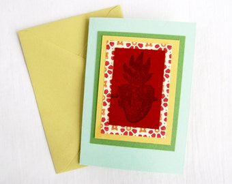 Heart Greeting Card Handmade Mexican Milagro Note Card Blank Valentine Religious Stationery Gift Card