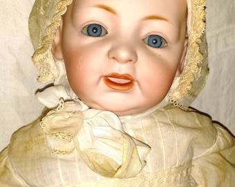 Large Antique JDK Kestner German Baby Character Doll, 1905, Christening Dress, Bisque Head