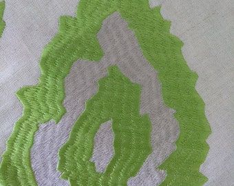 Pair = 2- 48w x 83L Flat lined panels  Thibaut Temecula embroidery in Green