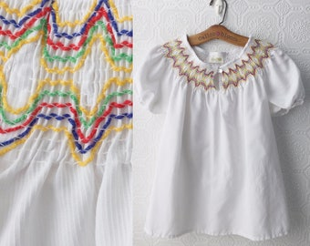 Boho Peasant Top, Summer Festival Shirt, Crisp White Cotton with Smocking Detail, Scoop Neck, Button Front, Short Sleeves, Size M, Vintage