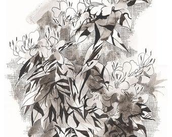 Original wall art. Black and White Painting. Original artwork. Fine Art Painting. Original drawing. Ink painting. Original painting